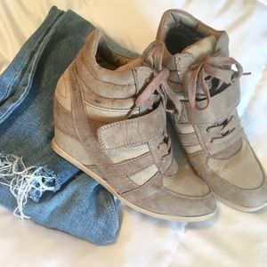 Wild Diva beige wedge sneakers 7.5